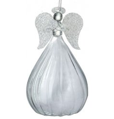 A clear glass hanging angel ornament featuring added sparkly wings and accents