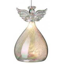 A beautifully simple hanging glass angel featuring a balloon LED skirt and added iridescent coating effect