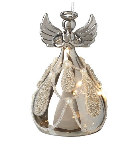 A stunning glass angel decoration with heart charm and balloon skirt decorated with ornate beading and pearls.