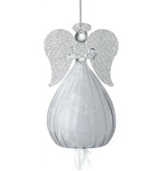 A beautifully simple hanging glass angel featuring a balloon skirt and glittery angel wing decal