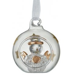 A cute little clear glass bauble with added glitter star decals and a glass snowman centre