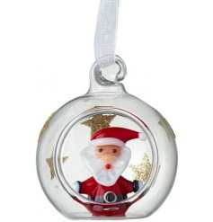 A cute little clear glass bauble with added glitter star decals and a glass Santa centre