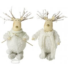 Fall in love with this assortment of woolly reindeer decorations, each with a gold nose and rustic twig antlers.