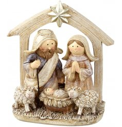 A traditional themed stable nativity scene with an added sprinkle of glitter for a festive touch