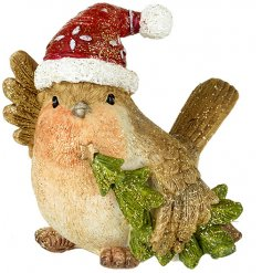 A cute little Robin Red Breast with an added festive hat and a sprinkle of gold glitter for decoration