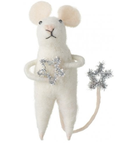 A charming white mouse decoration with a silver tinsel star charm and silver tinsel star tail.