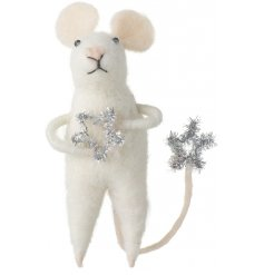A sweet standing woollen mouse decoration with added sparkly silver tinsel stars