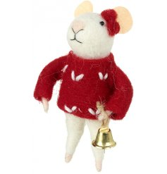 A sweet standing woollen mouse decoration with added red jumper and golden bell