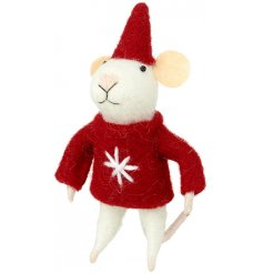 A cute little woollen white mouse with added red jumper and matching hat