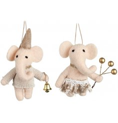 A mix of two adorable felt elephant hanging decorations. Each is adorned with gold festive outfits.