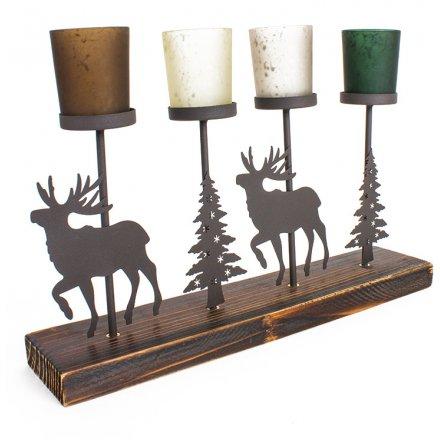 Rustic Woodland Metal Reindeer Candle Holder