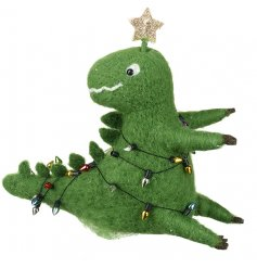 An adorable green woollen dinosaur wrapped in lights and topped with a gold star