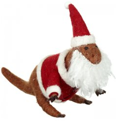 A unique felt dinosaur figure dressed in a Santa costume. A fun and festive decoration for little and big kids to enjoy!