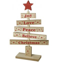 A stylish wooden Christmas tree with slogan printed branches and red painted stars.