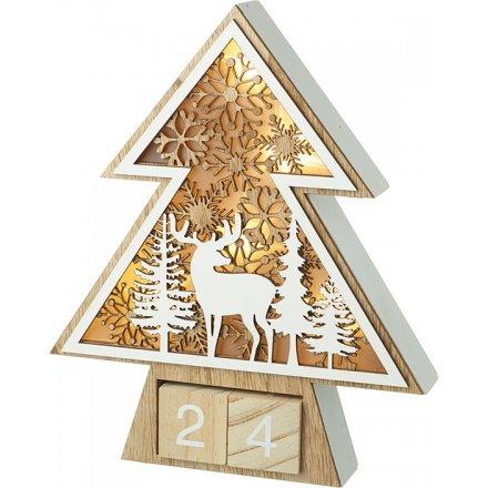 LED Wooden Scene Perpetual Calendar