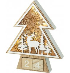 Set with an illuminating LED back, this warm glowing LED Woodland Scene Display has added perpetual counting blocks