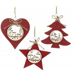 Bring a festive red tone to your tree displays at Christmas with this assorted set of hanging Heart, Star and Tree decs