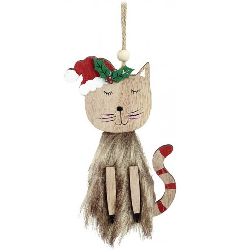 A charming wooden cat decoration with a faux fur coat and adorable painted details, including a red Santa hat.