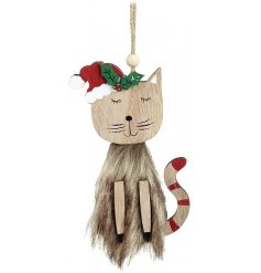 A sweet little natural toned wooden hanging cat decoration with added festive red features and faux fur trimmings
