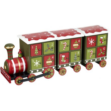 Red and Green Christmas Advent Train