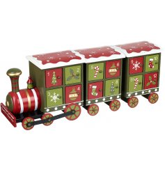 A fun themed red and green advent calendar train with 24 windows to hide delicious treats or goodies