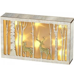 A beautiful natural wooden plaque featuring added an added woodland scene and sprinkle of gold glitter