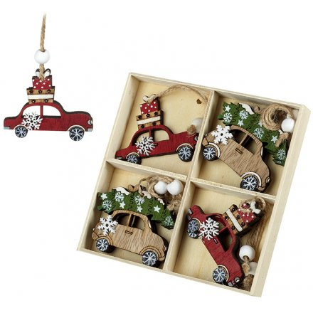 Pack of assorted wood cut Christmas hangers