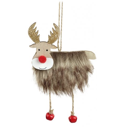 An adorable wooden reindeer decoration with a faux fur coat, gold glitter antlers and a red pompom nose.