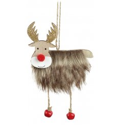 A charming little wooden hanging reindeer decoration with added faux fur trimmings and jingle bell hooves