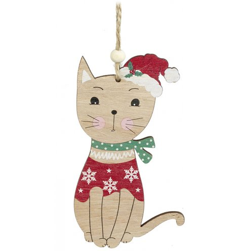 A colourful and cute wooden cat decoration with a vintage inspired painted Santa hat and Christmas jumper.