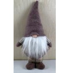 A cute little fabric standing gonk with a fuzzy white beard and high pointed hat