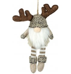 A sweet little hanging gonk decorated with natural brown and mink tones and added fabric antlers