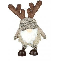 A sweet little standing gonk decorated with natural brown and mink tones and added fabric antlers
