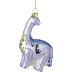 A purple toned glass dinosaur hanging decoration with added shiny features and green specks