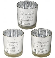 A beautiful mix of glass tlight holders each set with a frosted silver tone and scripted text decal