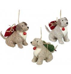 Three assorted felt hanging dog Christmas decorations