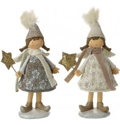An assortment of 2 beautifully detailed girl ornaments, each with a sequin star wand.