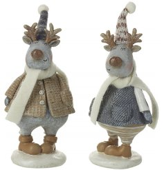 A mix of 2 resin reindeer ornaments with fabric scarves and hats.