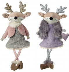 Adorn your shelves with these whimsical sitting reindeer decorations. Each has a sweet face and faux fur outfit.