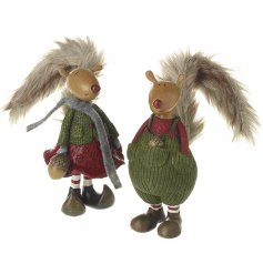 An assortment of 2 beautifully detailed woodland squirrel figures, each with a faux fur bushy tail.