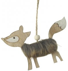 A hanging woodland fox decoration with a faux fur coat and jute string hanger.