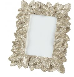 A beautifully layered feather design photo frame with a champagne gold finish.