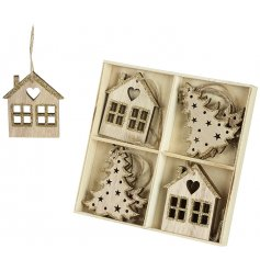 A set of wooden hanging Christmas decorations in house and tree designs.