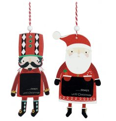 An assortment of 2 wooden countdown decorations in popular Santa and Nutcracker designs.