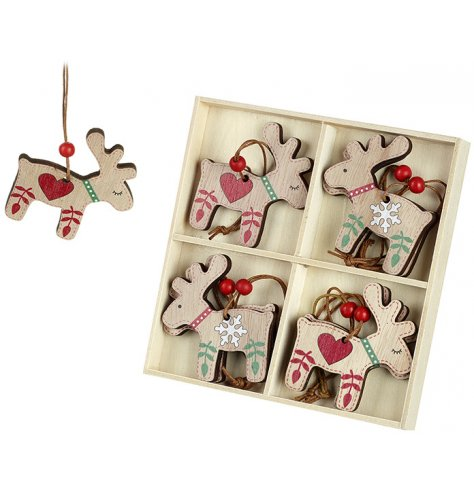 A pack of 8 wooden reindeer hangers with Scandinavian inspired red and green decorative patterns.