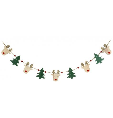Cute and colourful wooden bunting featuring green polkadot Christmas trees and reindeers with gold glitter antlers