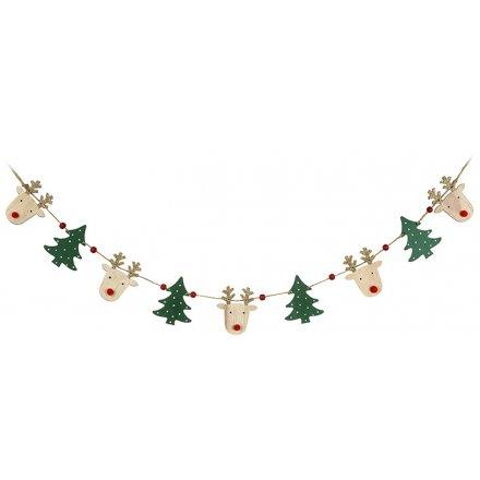 Wooden Reindeer/Tree Bunting 118cm