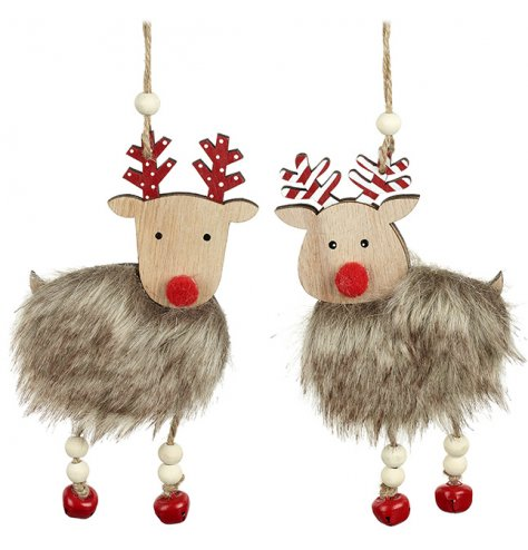 Wooden reindeer decorations with faux fur coats, painted antlers and red pom pom noses.