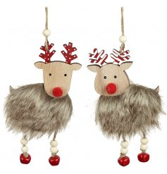A mix of 2 faux fur hanging reindeer decorations, complete with red pom pom noses and beaded hangers.