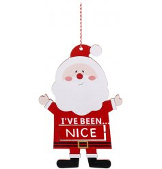 Naughty or nice hanging Santa